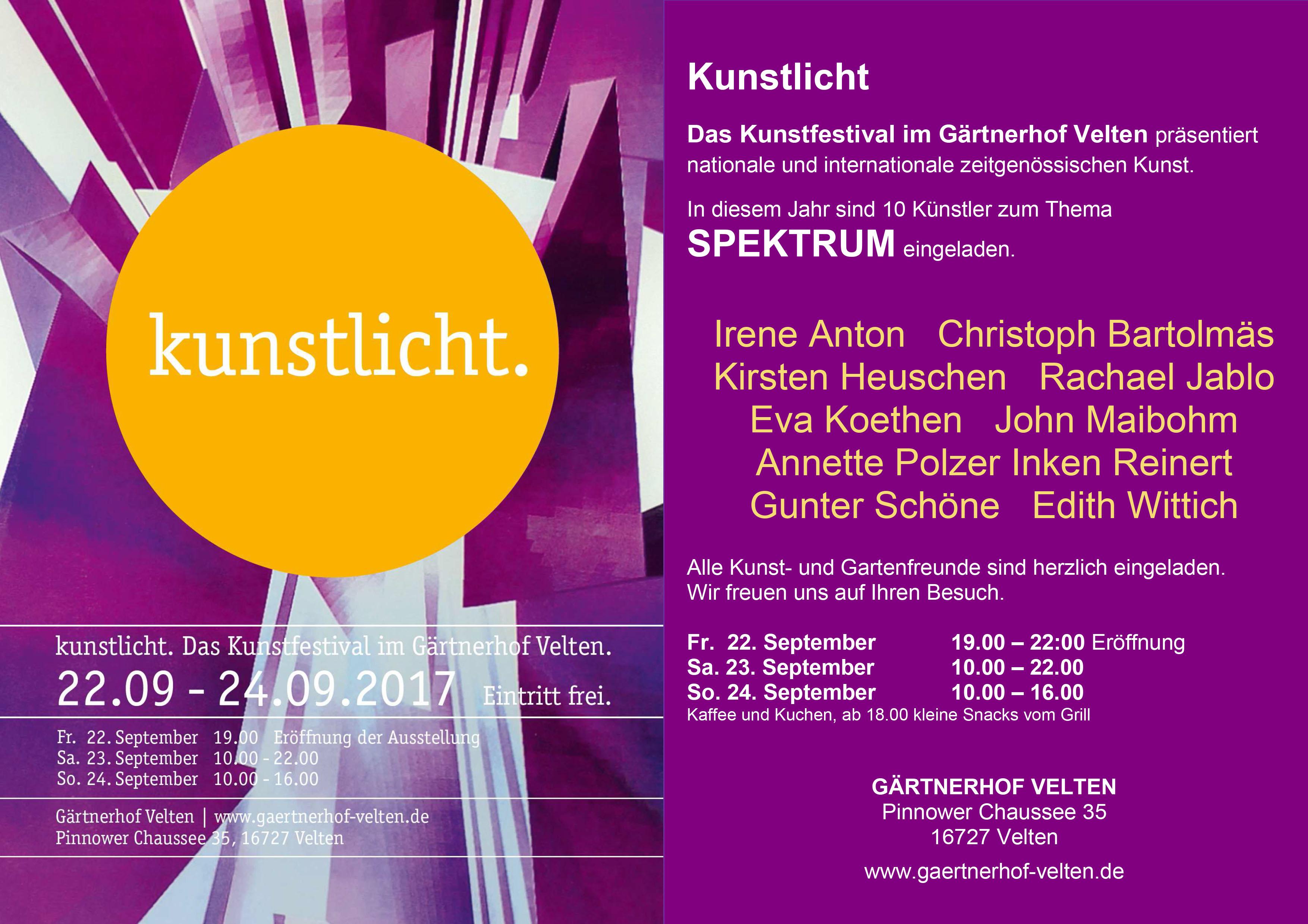 22. - 24.09. 2017 8. Kunstlicht-Festival, Velten